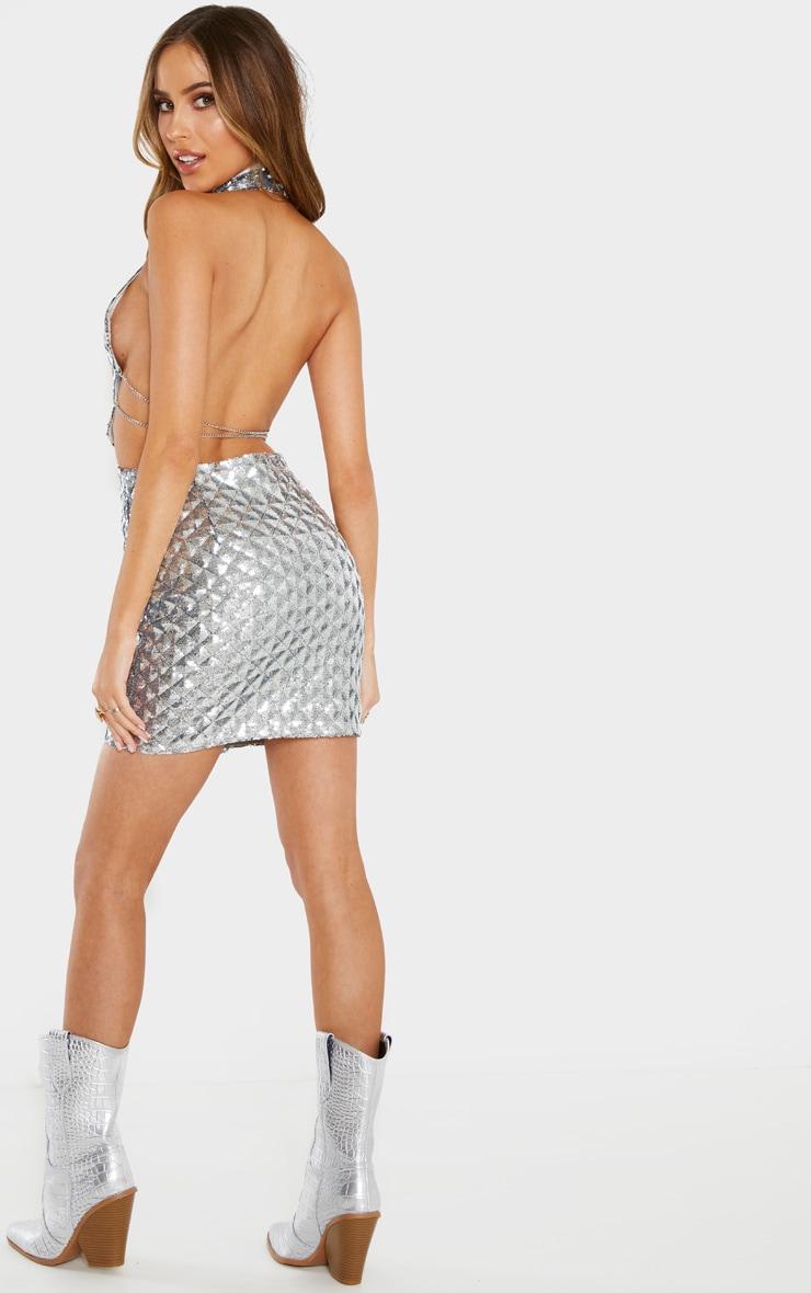 Silver Diamond Sequin Chain Back Bodycon Dress 2