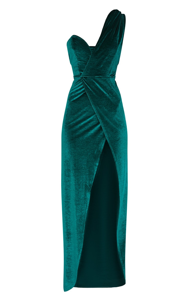 Emerald Green Velvet Wrap One Shoulder Extreme Split Maxi Dress  3
