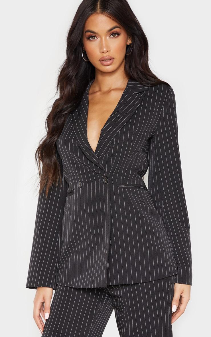 Black Pinstripe Longline Oversized Woven Blazer    1