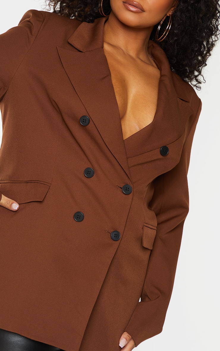 Plus Chocolate Brown Double Breasted Blazer 4