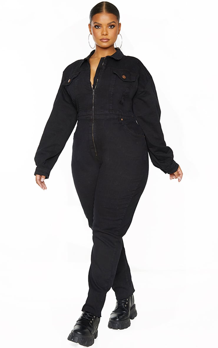 Plus Black Denim Zip Front Jumpsuit 3