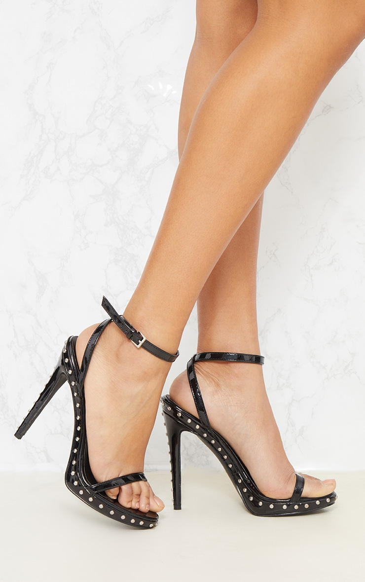 Black Studded Detail Strappy Sandal