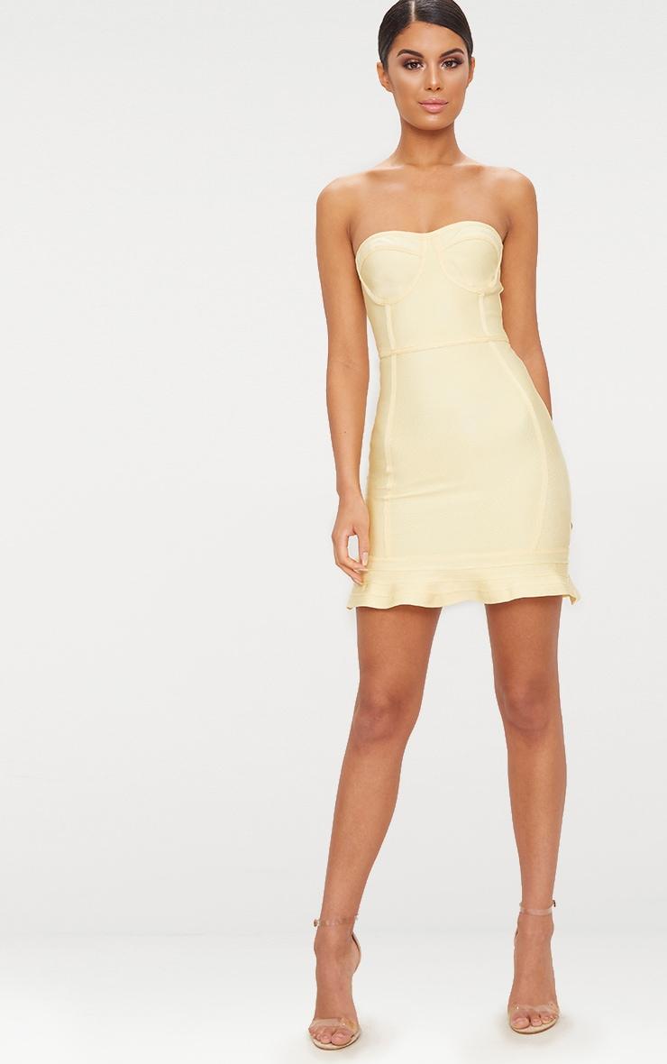Lemon Bandage Frill Hem Bodycon Dress 4