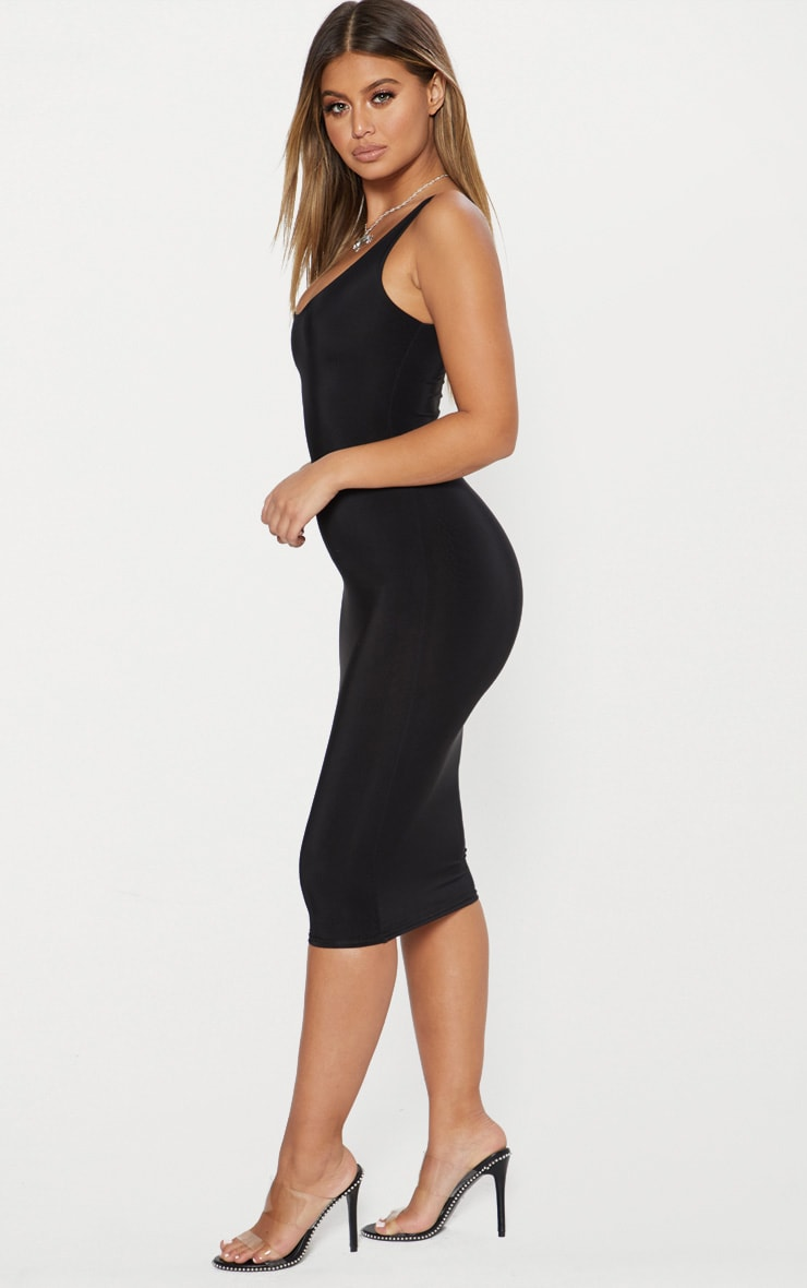 Black Second Skin Double Layered Slinky Scoop Neck Midi Dress 4