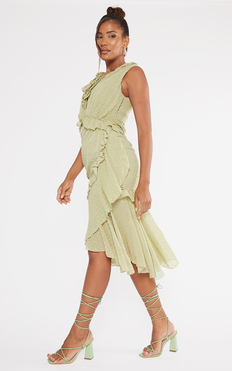 Olive Dobby Chiffon Plunge Frill Detail Midi Dress 3