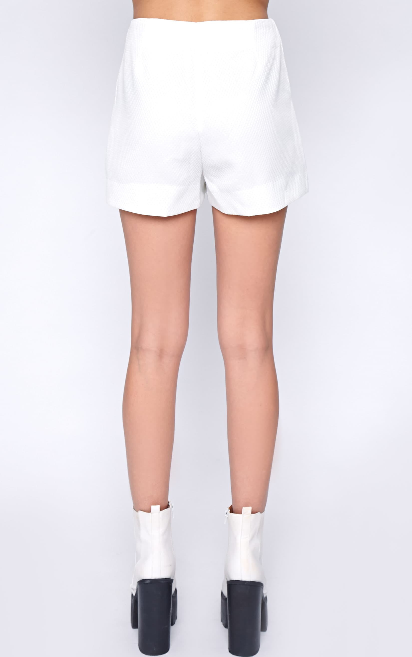 Talia White Textured Short -10 2