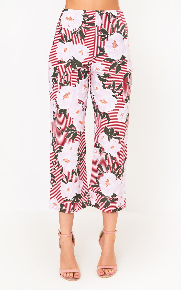 Red Stripe Floral Side Split Culottes 2