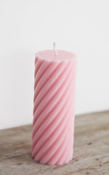 Baby Pink Swirl Pillar Scented Soy Wax Candle 12cm 4