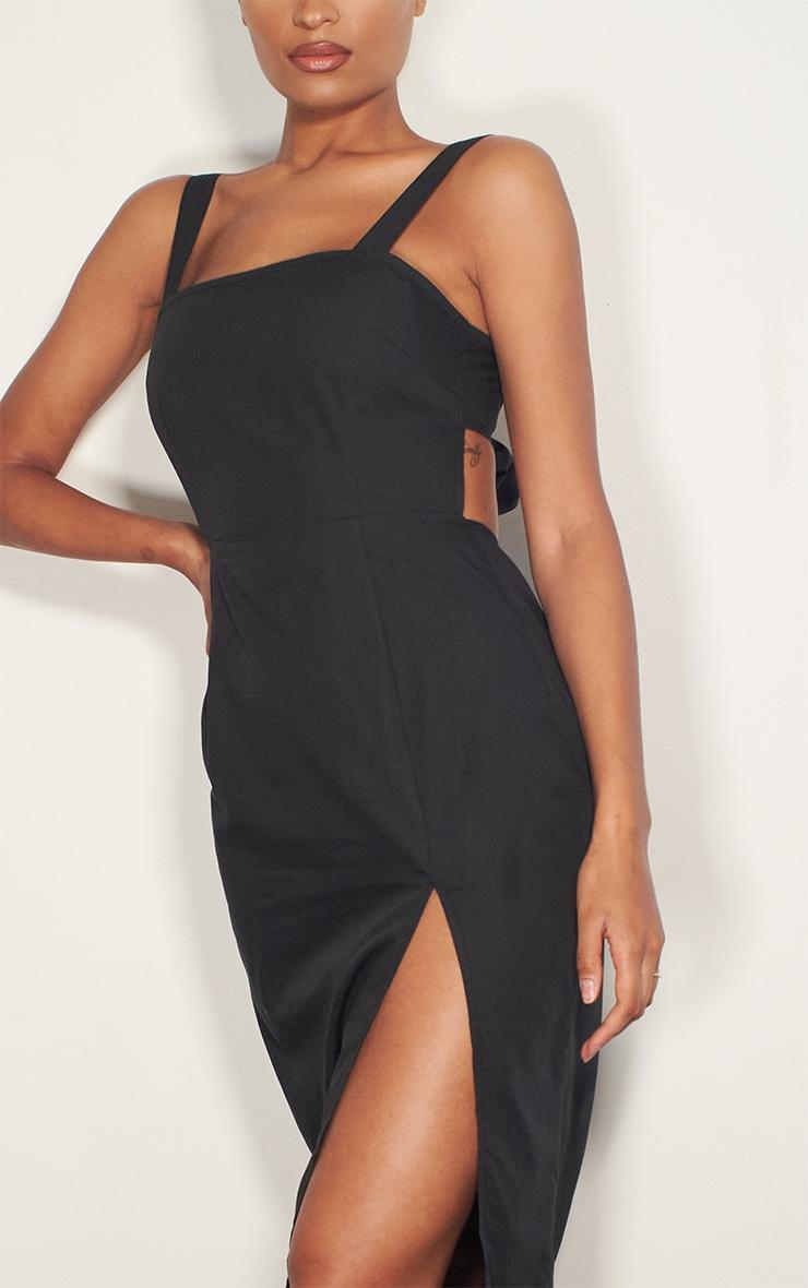 Black Linen Mix Tie Back Detail Split Midi Dress 4