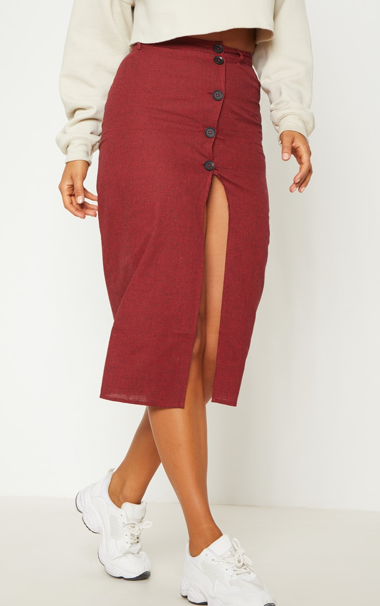 Red Check Button Detail Midi Skirt  2