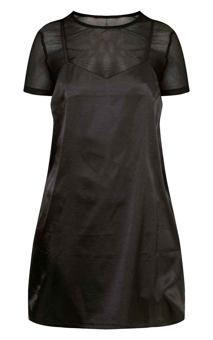 Miah Black Satin 2in1 Cami Dress 3