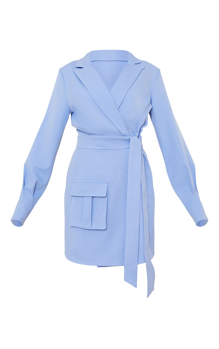 Blue Tie Waist Wrap Detail Blazer Dress 5