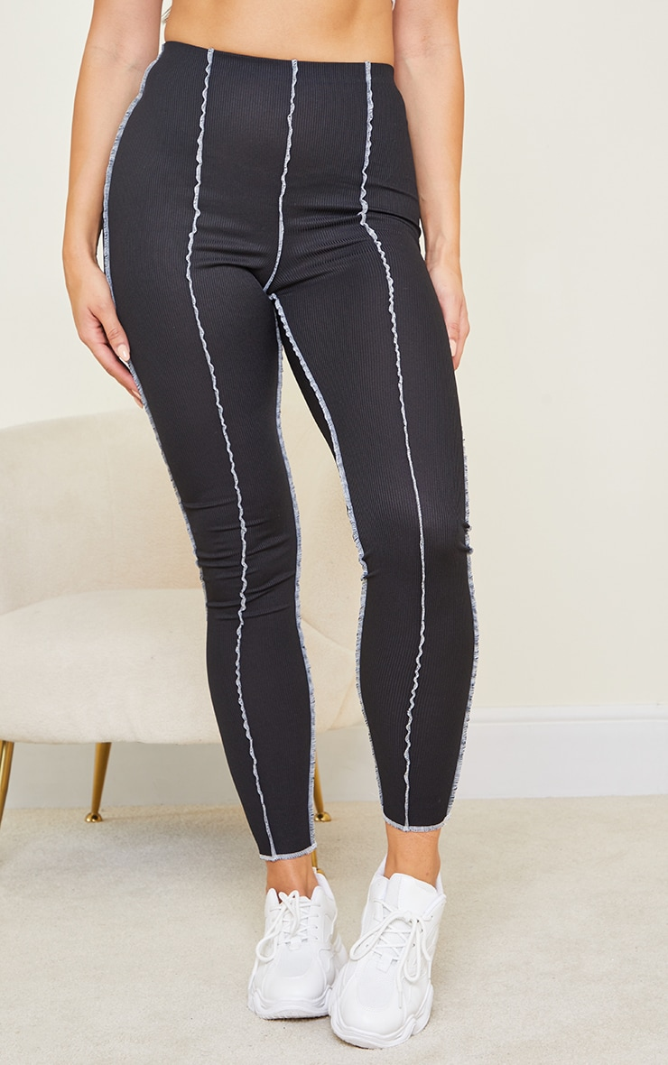 Tall Black Ribbed Contrast Seam Detail Leggings 2