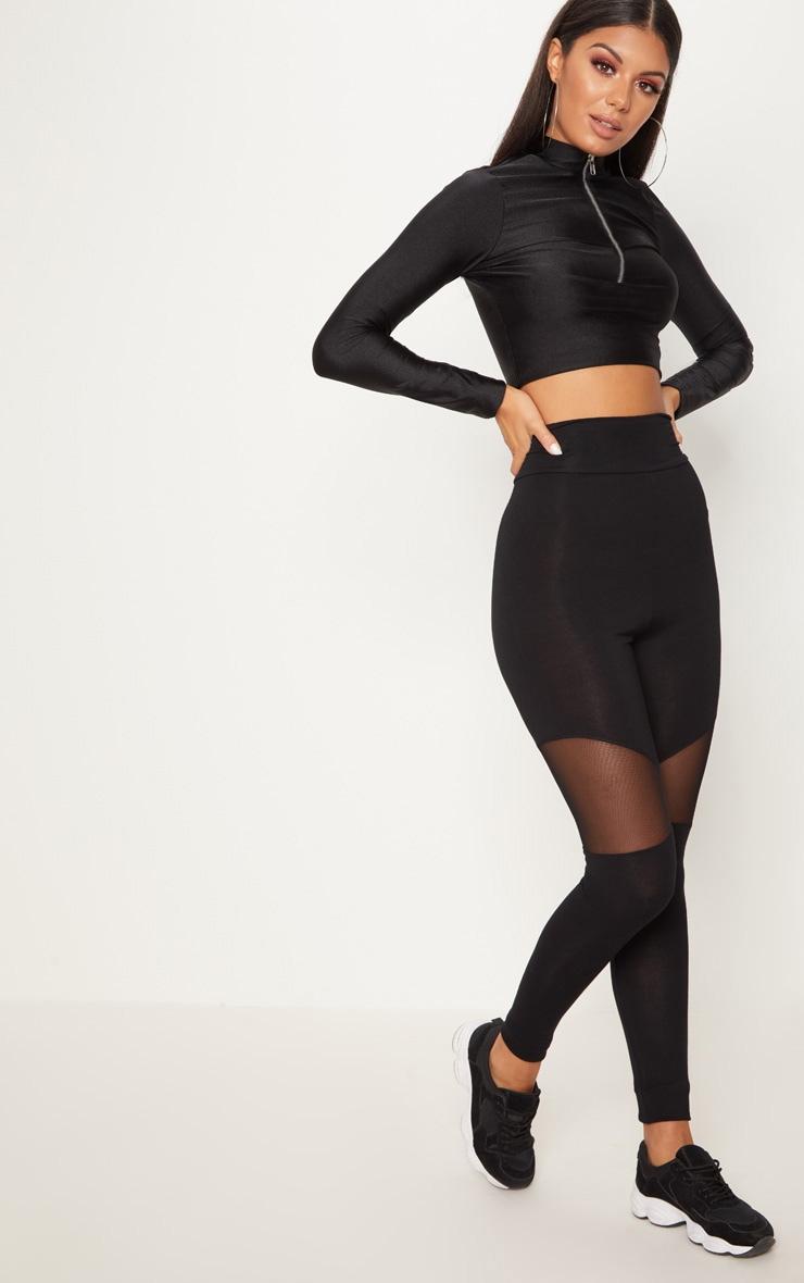 Black Mesh Panel Jersey Legging 2