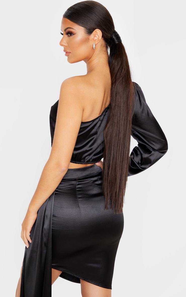 Black Satin One Shoulder Cuff Hem Crop Top 2