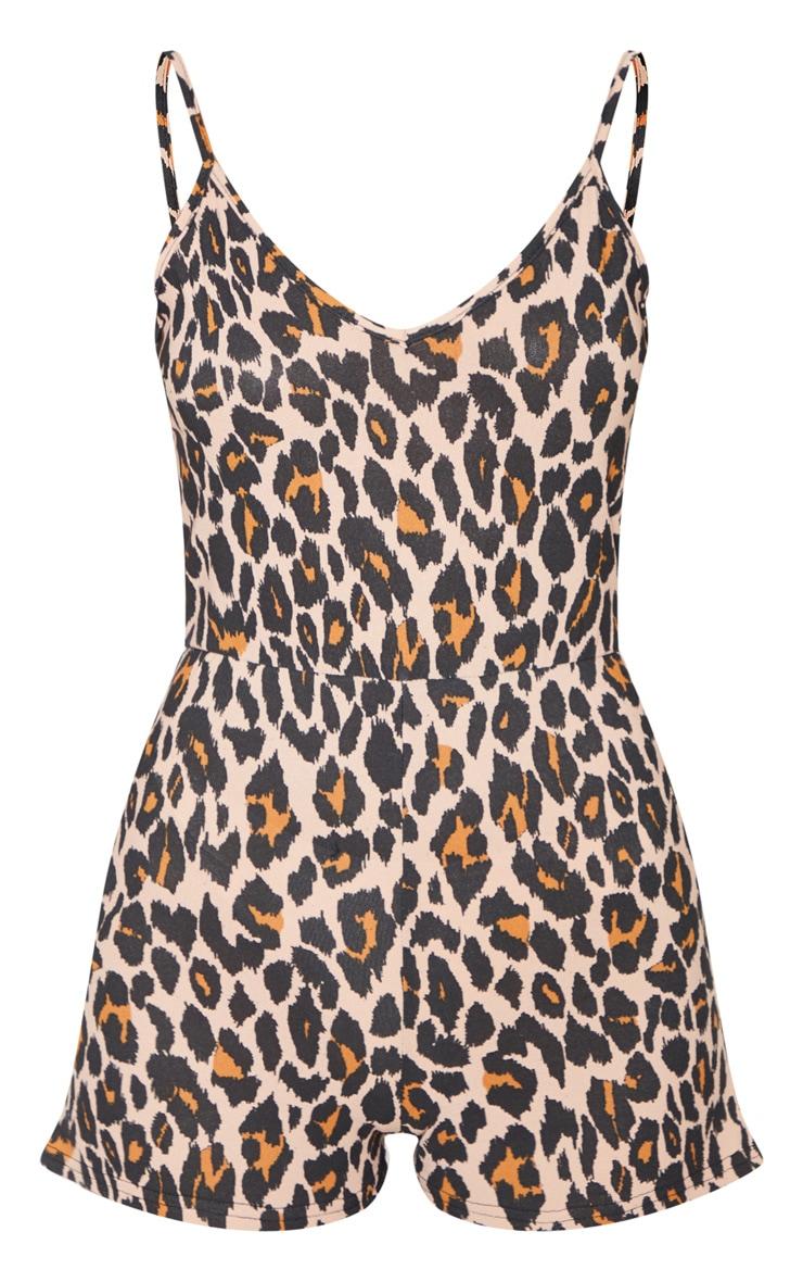 Tan Leopard Print Tie Waist Romper 3
