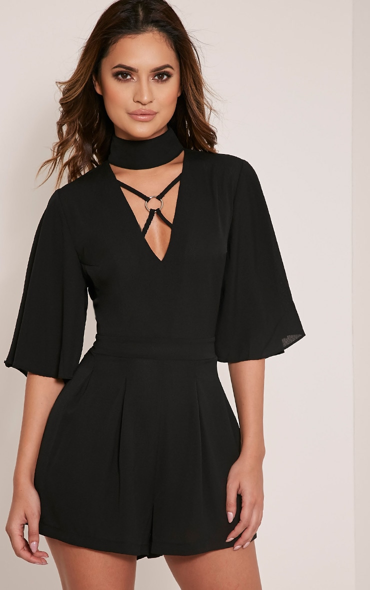 Candice Black Harness Detail Choker Playsuit 1