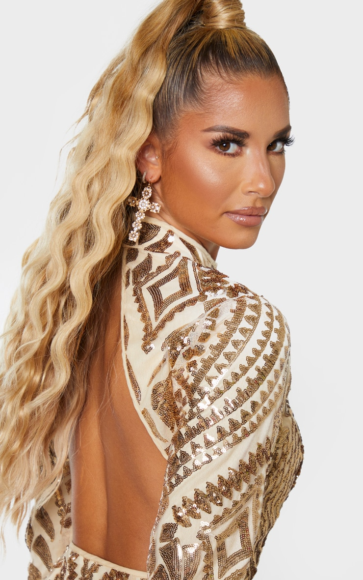 Gold Sequin Patterned Open Back Bodycon Dress 5