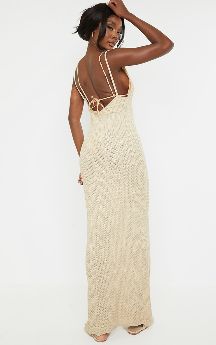 Tall Stone Knitted Low Back Extreme Side Split Maxi Dress 2