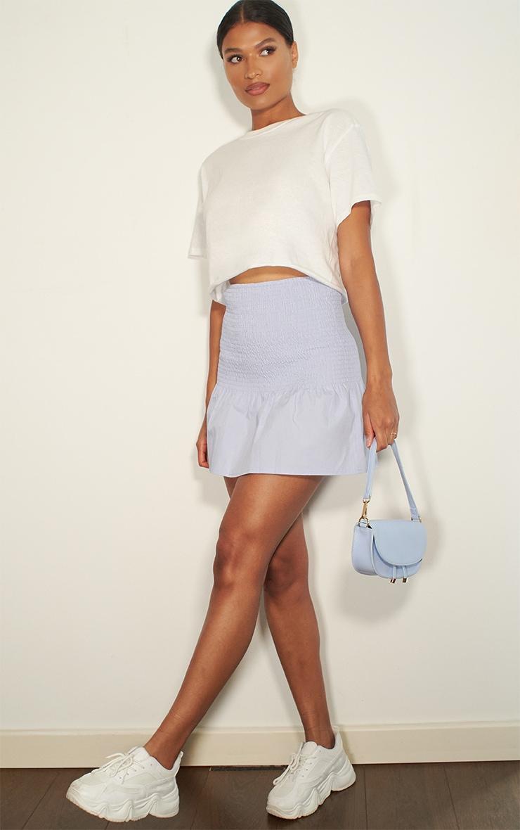 Baby Blue Shirred Frill Hem Mini Skirt 4