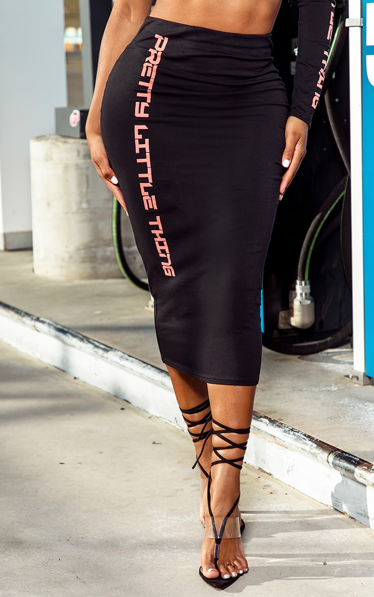 PRETTYLITTLETHING Shape Black Midi Skirt 2