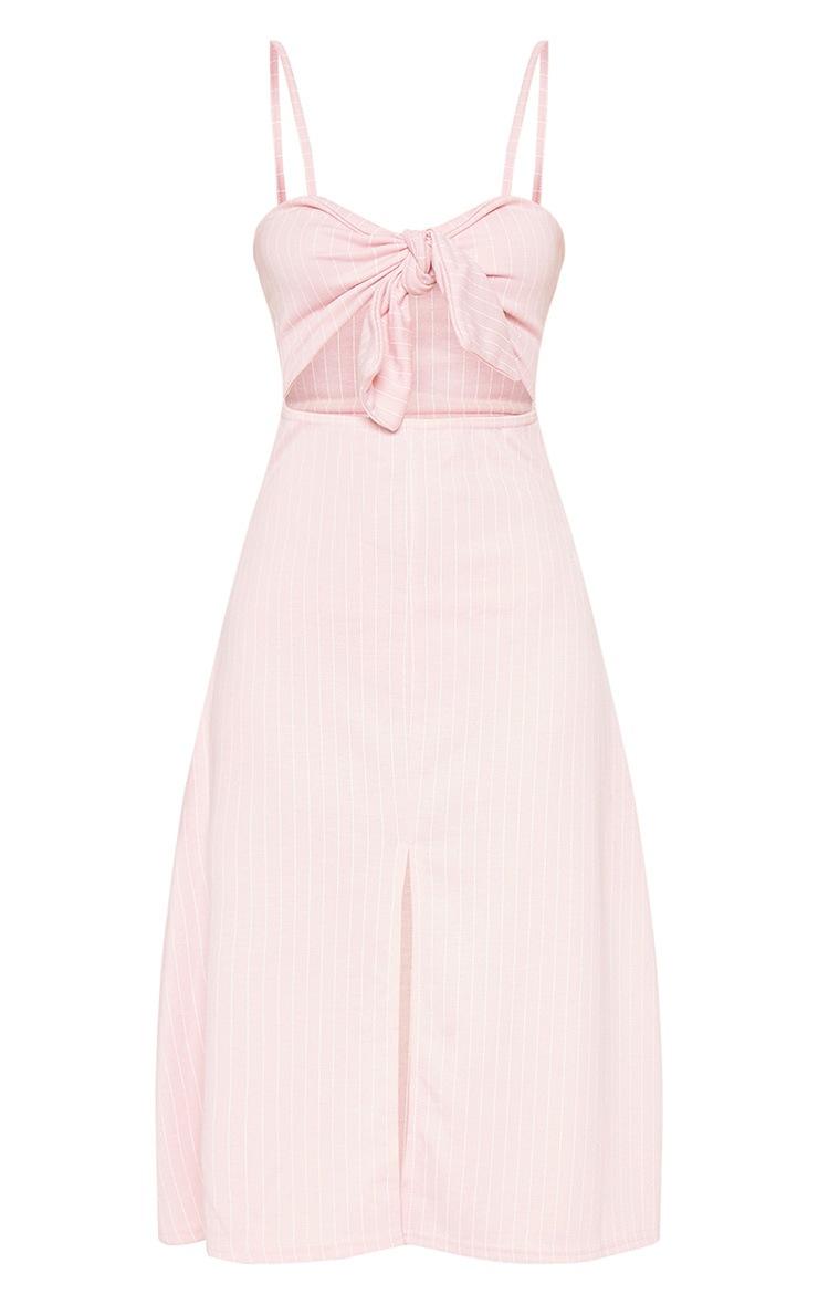 Pastel Pink Pinstripe Tie Front Extreme Split Midi Dress 4
