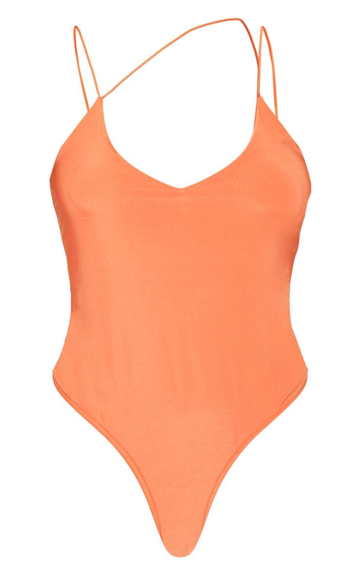 Tangerine Asymmetric Slinky Bodysuit 3