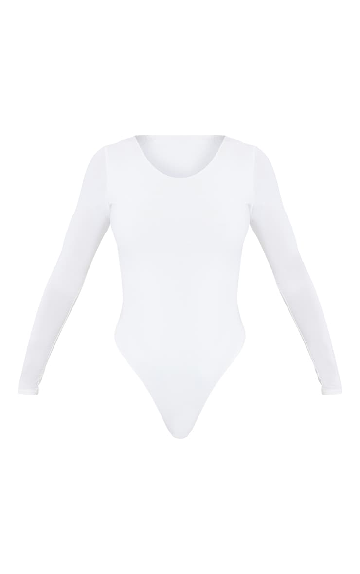 White Second Skin Long Sleeve Thong Bodysuit 5