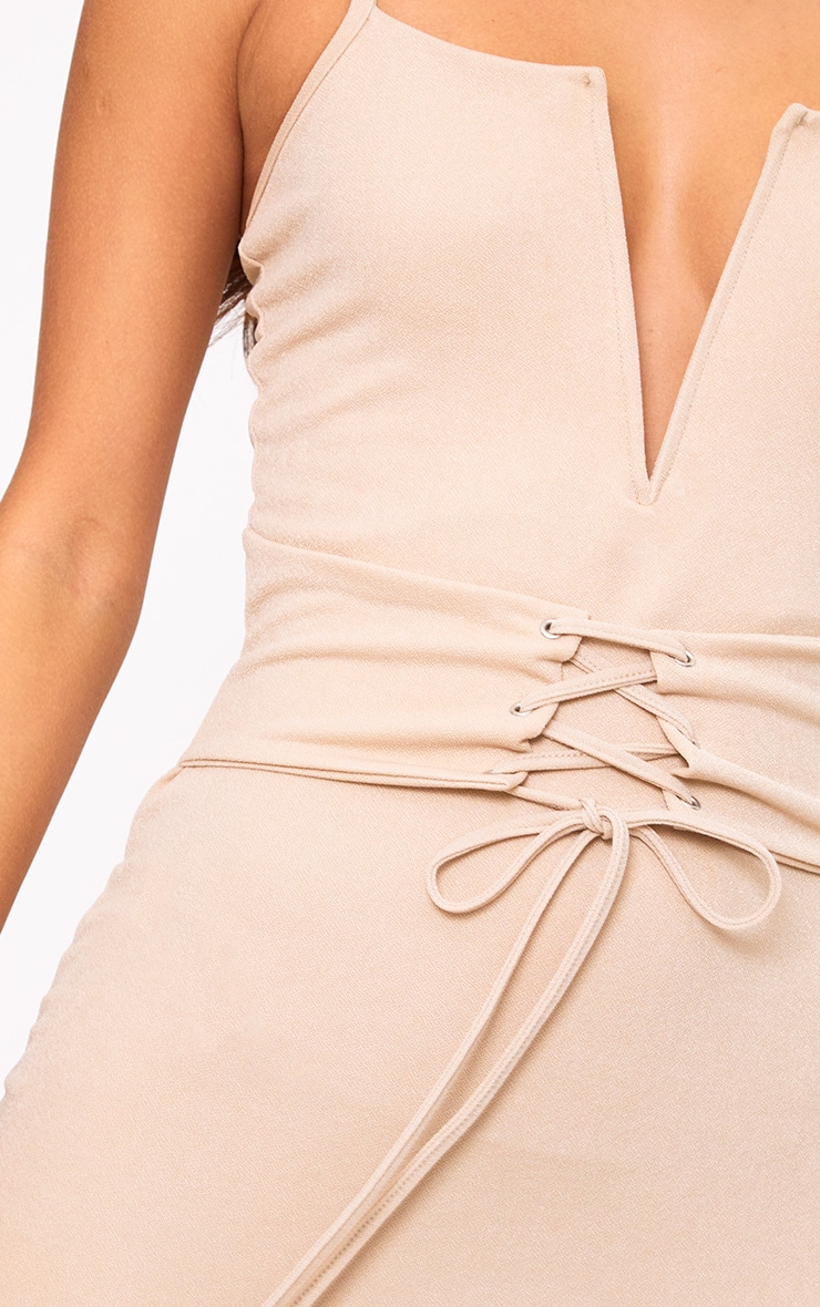 Nude Strappy V Plunge Corset Detail Bodycon Dress 5