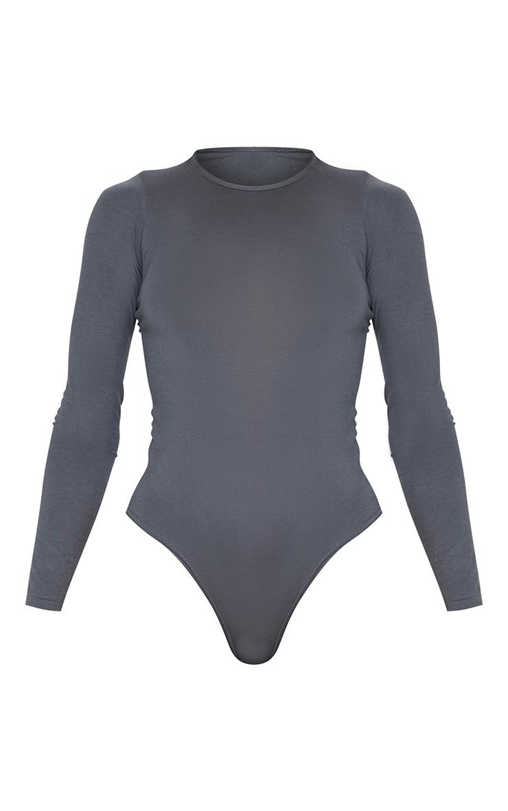 Basic Charcoal Crew Neck Long Sleeve Bodysuit 3