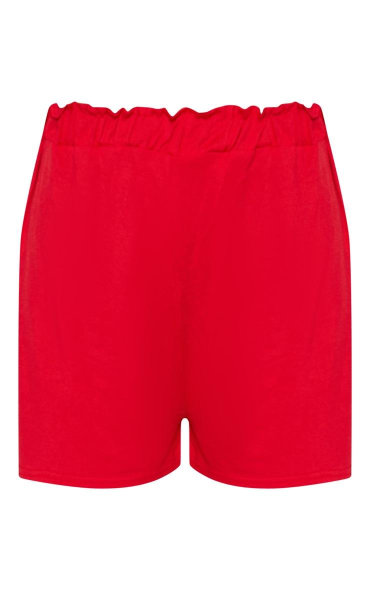Red Jersey Ruched Waist Short 3