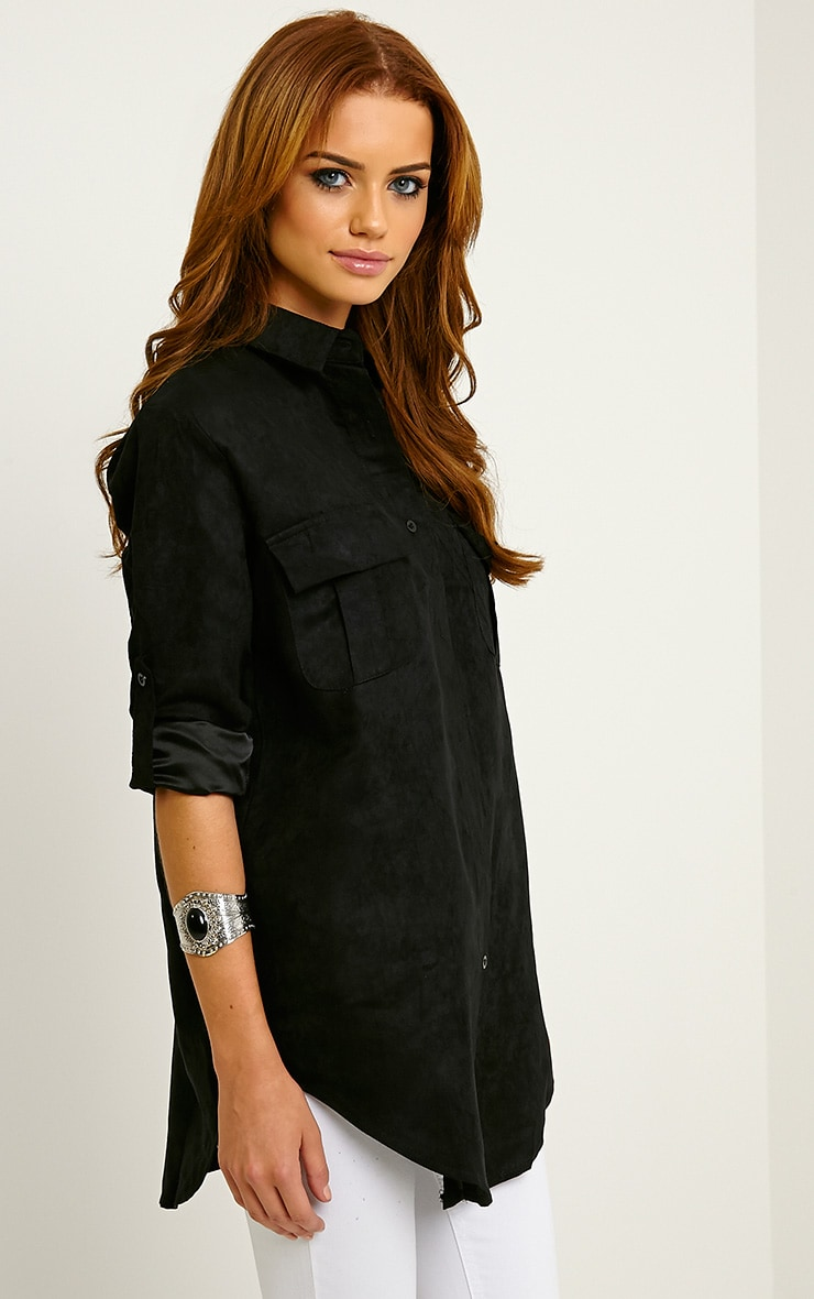 Blithe Black Faux Suede Oversized Shirt 4