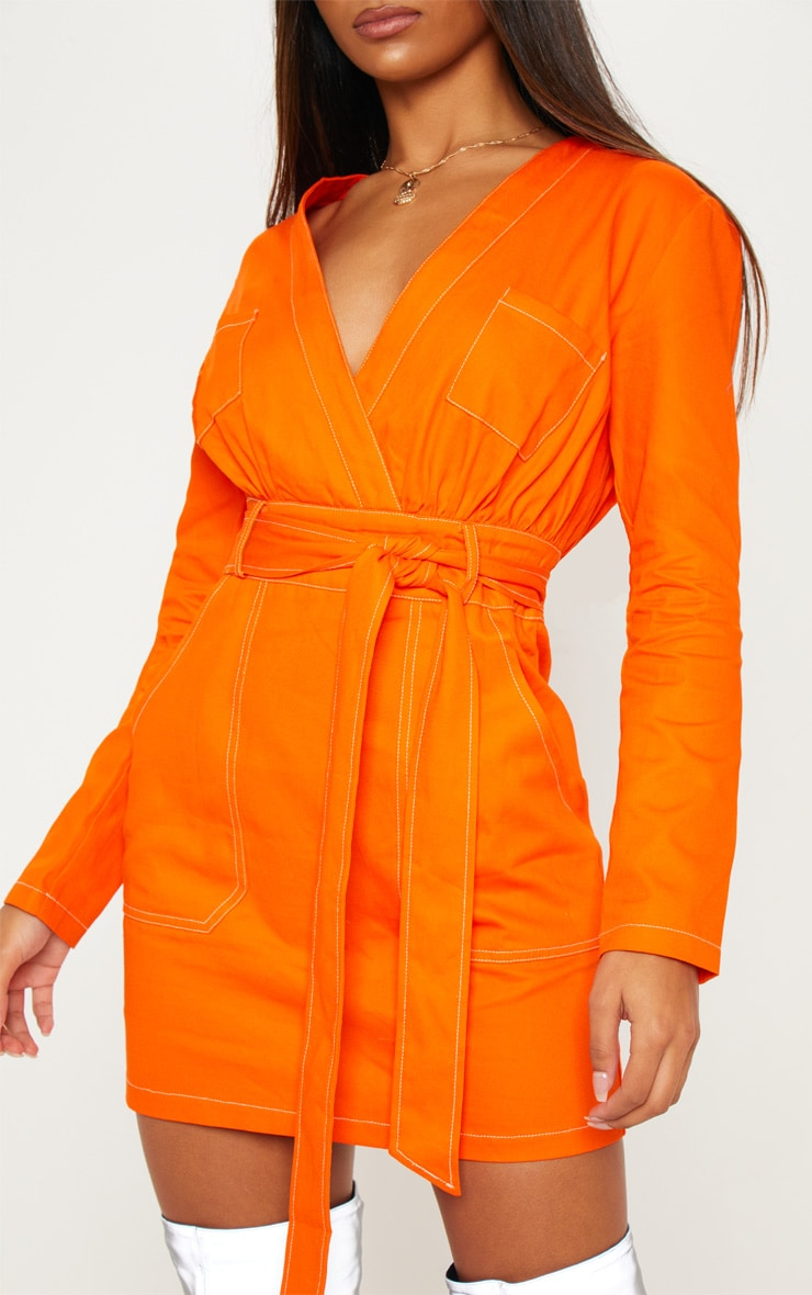 Orange Contrast Stitching Utility Bodycon Dress 4