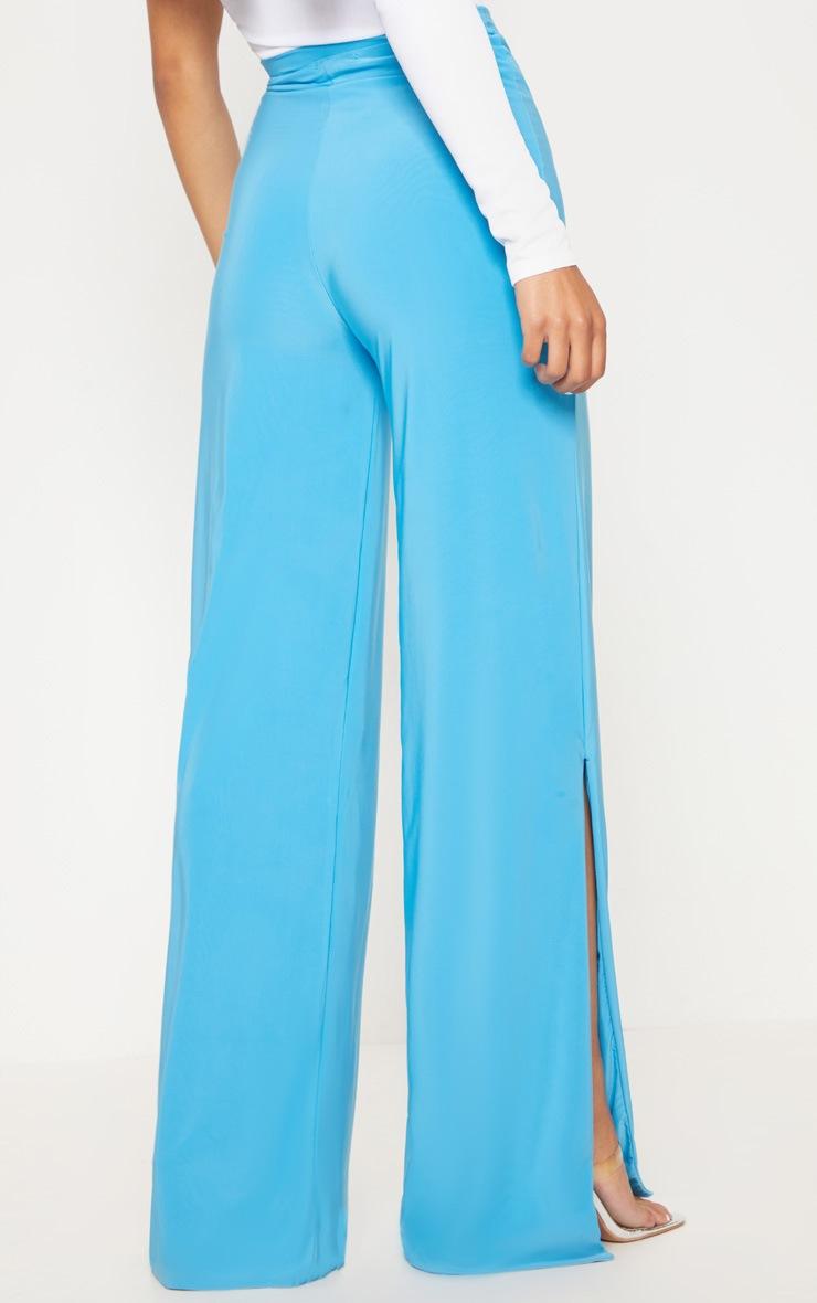 Turquoise Side Split Slinky Pants 4