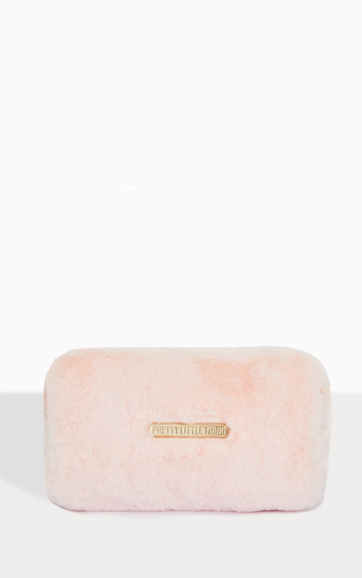 PRETTYLITTLETHING Baby Pink Faux Fur Makeup Bag 1