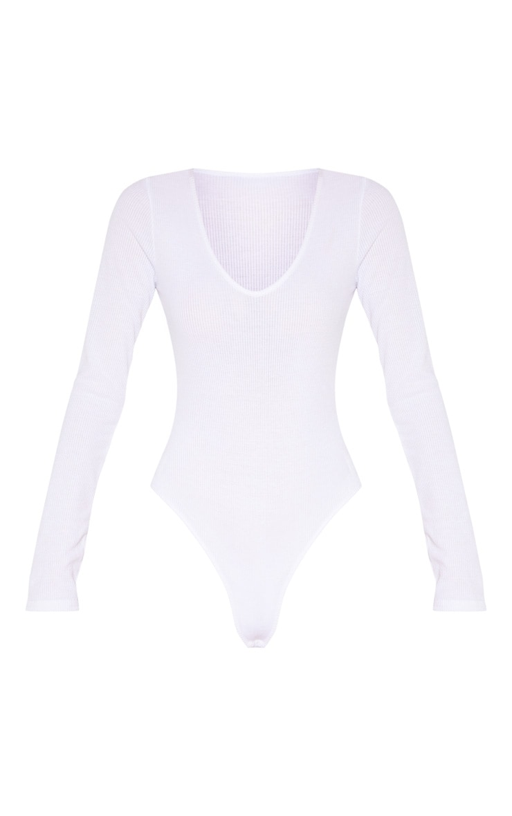 Tall White Ribbed Plunge Long Sleeve Bodysuit  3