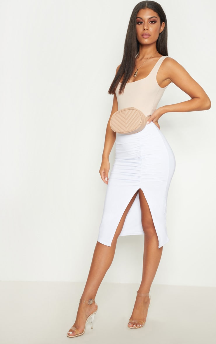 White Slinky Ruched Seam Detail Midi Skirt 1