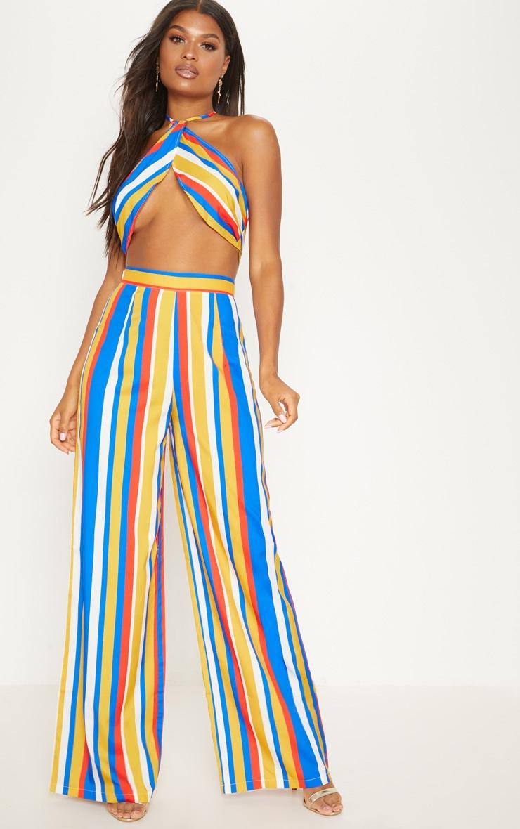 Multi Satin Stripe Wide Leg Trouser by Prettylittlething