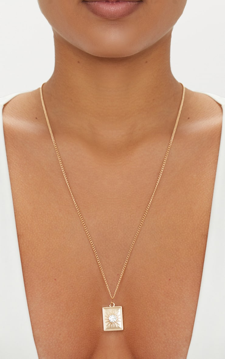 Gold Square Diamante Pendant Necklace 1