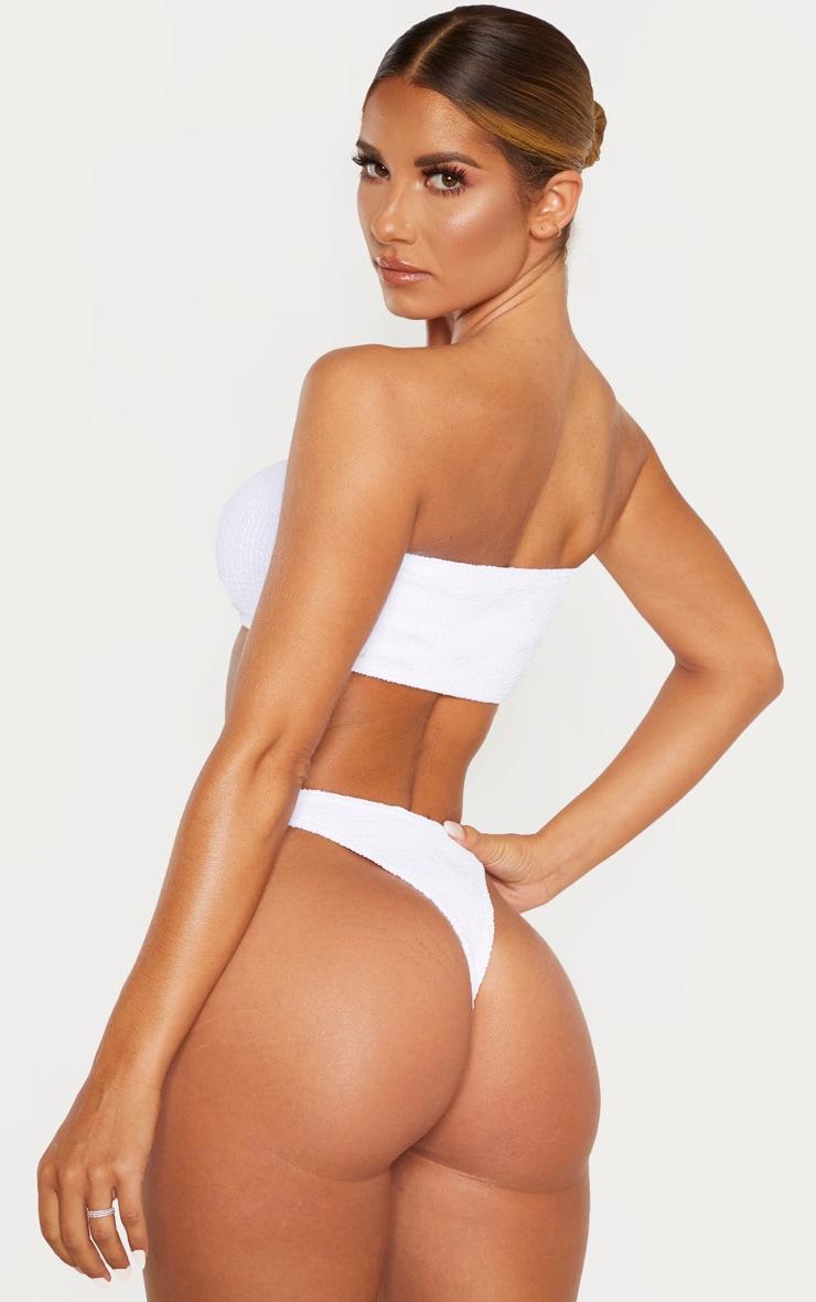 White Crinkle Bandeau Bikini Top 2