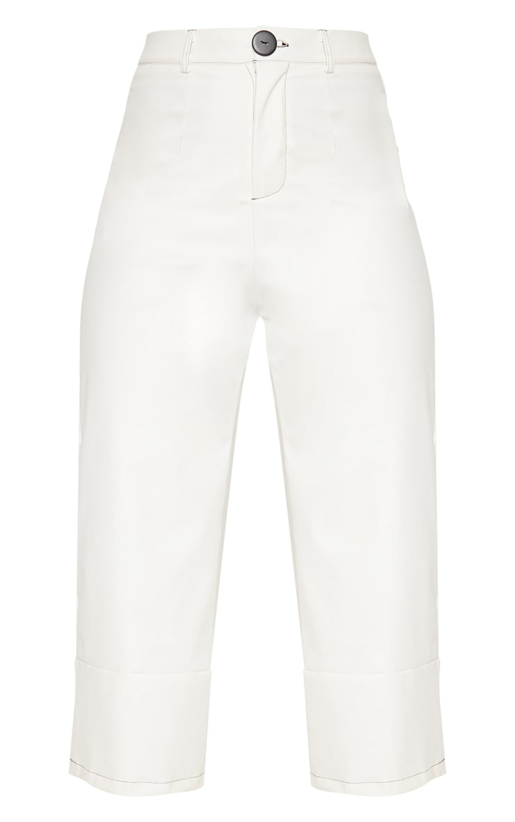 White Faux Leather Culotte 3