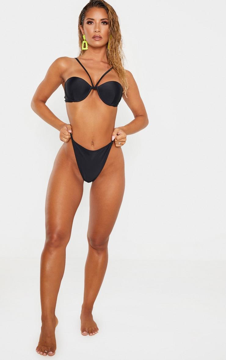 Black Center Strap Cupped Bikini Top 4