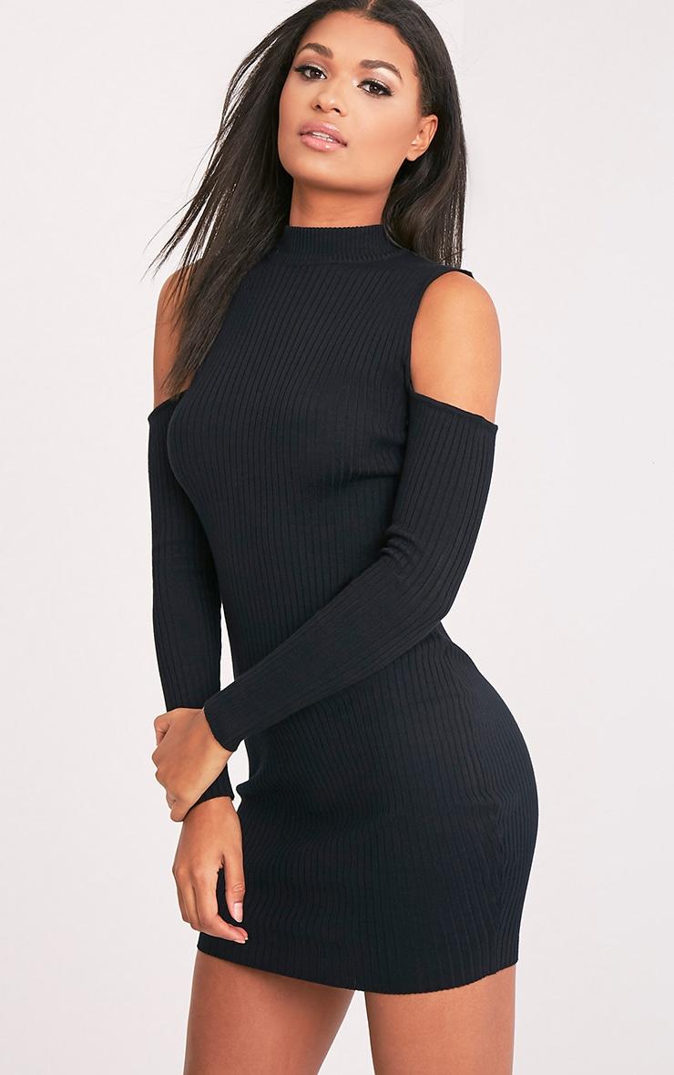 Ysabel robe mini tricotée noire côtelée à épaules découvertes 4
