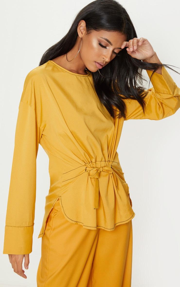 Mustard Woven Contrast Stitch Gathered Waist Shirt 4