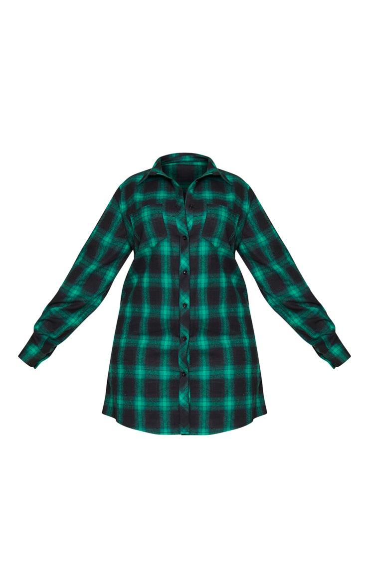 Plus Green Checked Oversized Shirt Dress 5