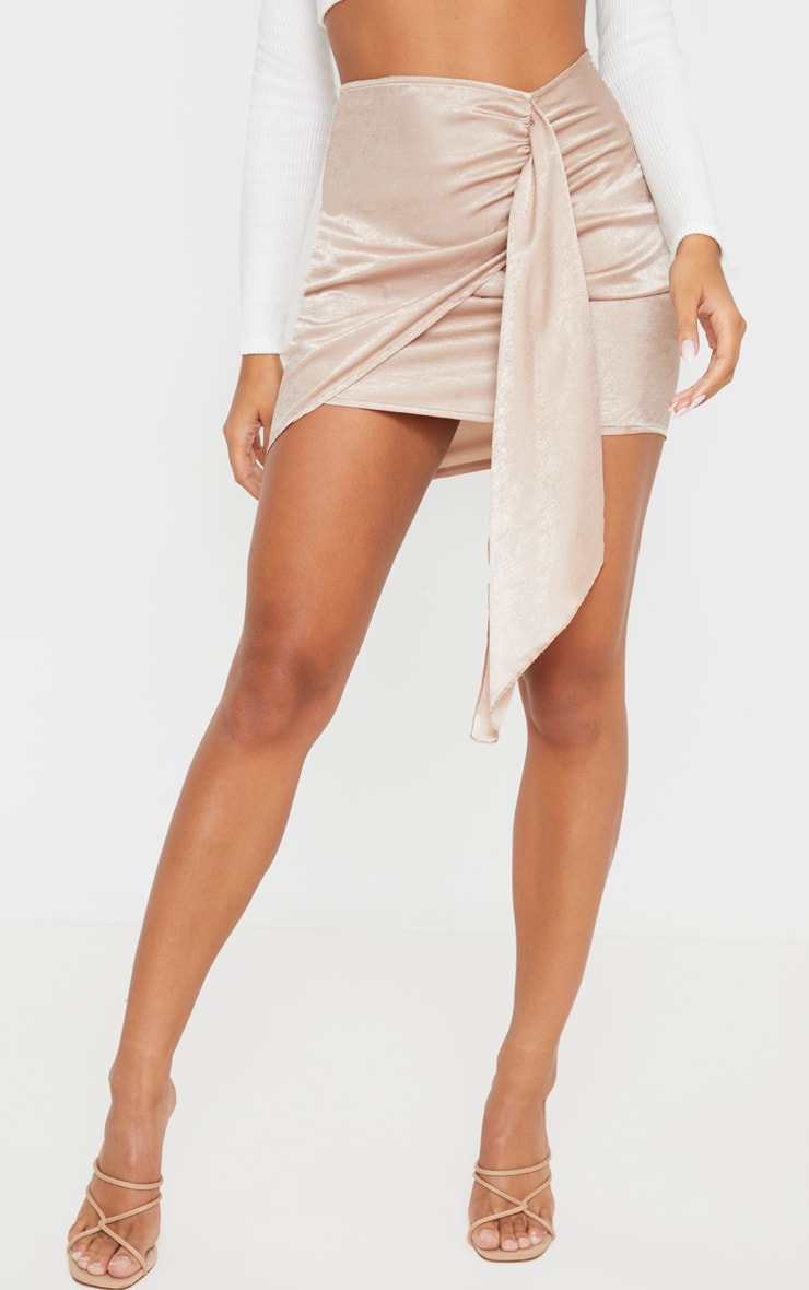 Champagne Satin Wrap Tie Detail Mini Skirt 2