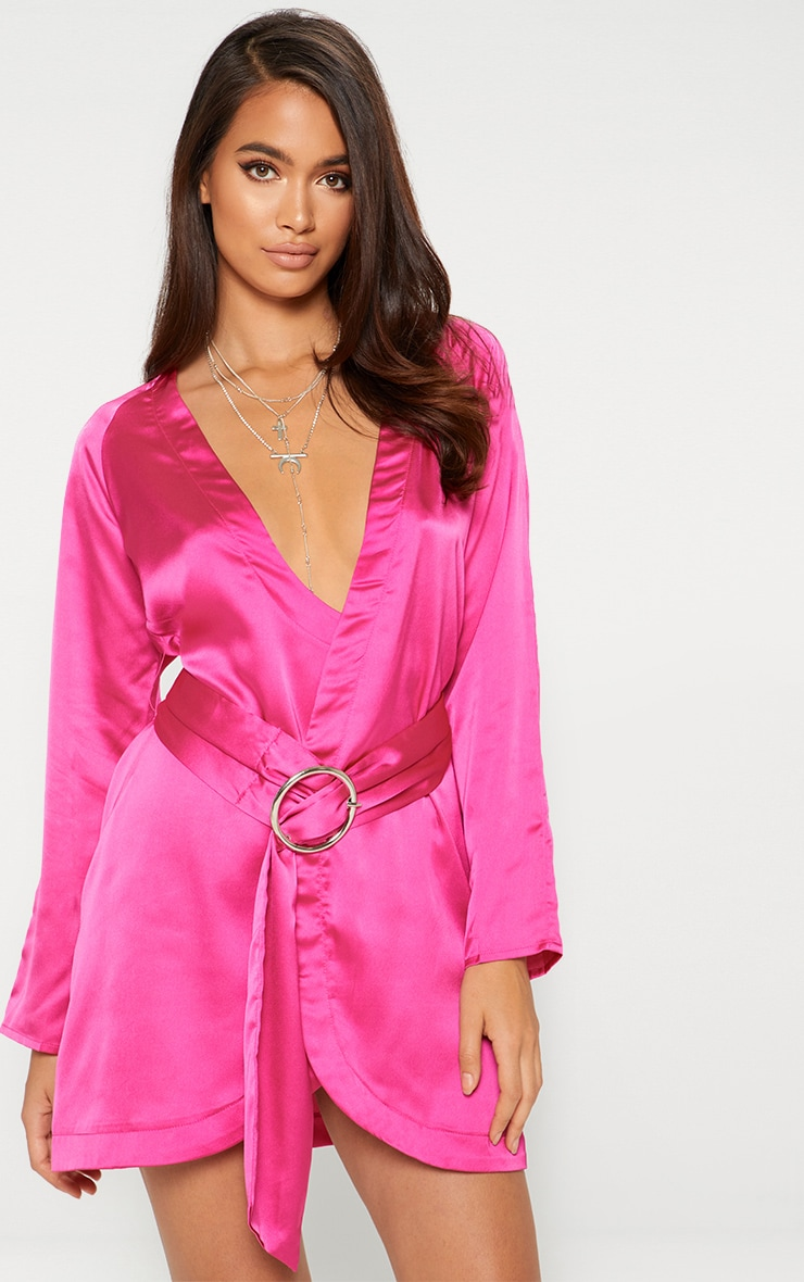 Fuchsia Pink Satin Belted Shirt Dress 1