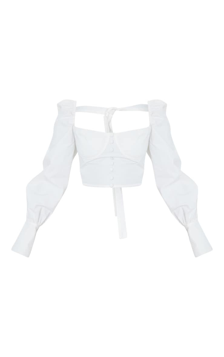 Petite White Tie Back Cup Detail Cropped Blouse 5