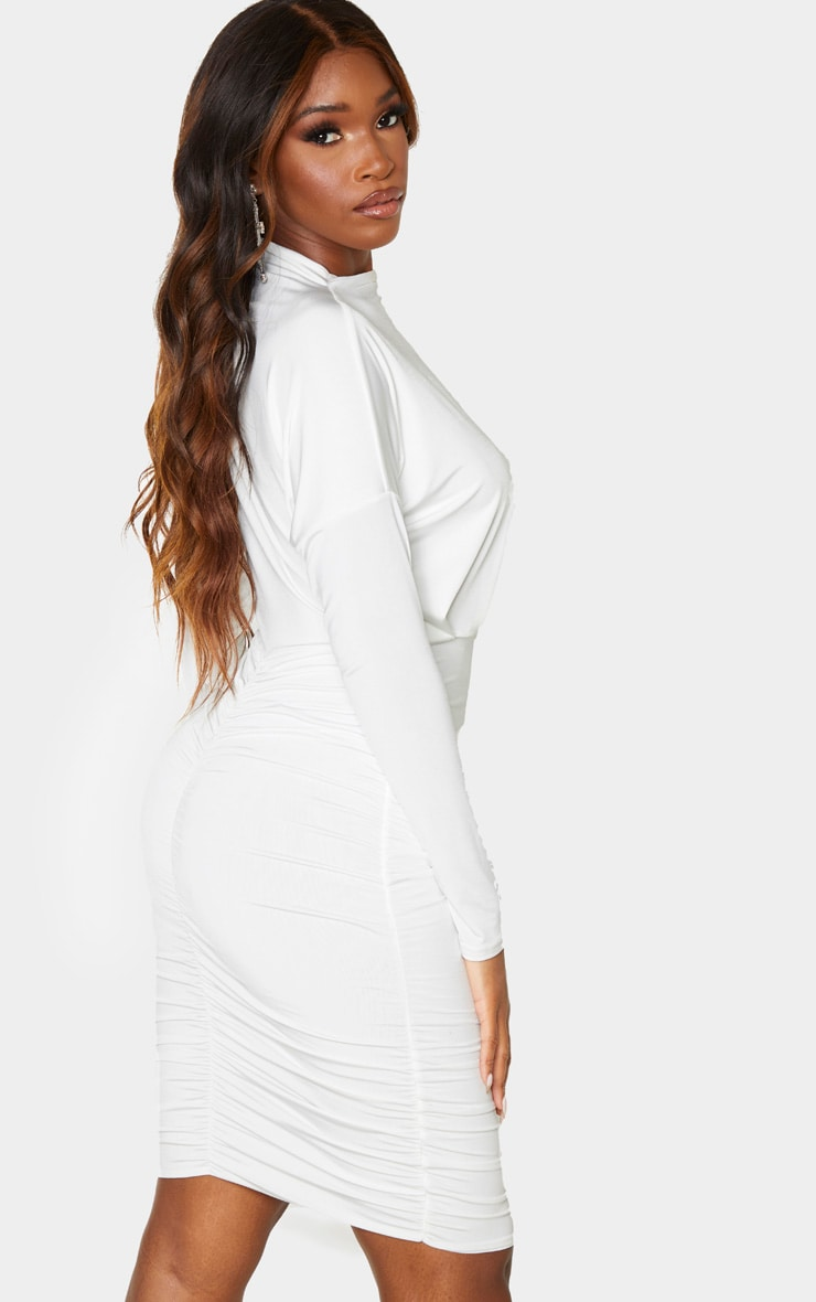 White Slinky High Neck Long Sleeve Ruched Back Bodycon Dress 2
