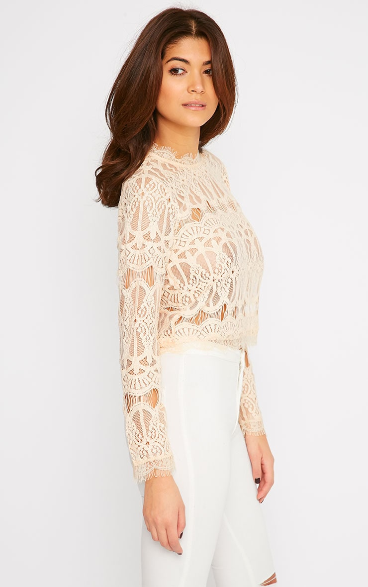 Susanna Nude Premium Lace Long Sleeve Top  1